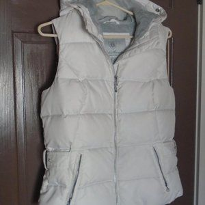 Off White Ivory Down Puffer Vest with Hood